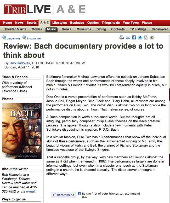Reviews and Comments on BACH & friends | Michael Lawrence Films